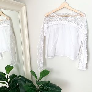 KUT from the Kloth White Lace Blouse